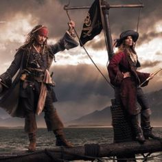 Johnny Depp as Jack Sparrow and performer, writer and artist Patti Smith as the Second Pirate in Command