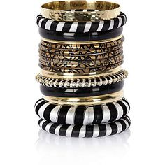 Black woven and gold tone metal bangle pack £18.00