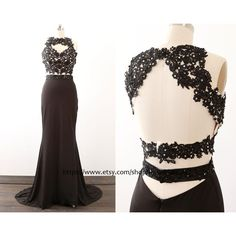 Black Prom Dresses, Mermaid Jersey Black Long Prom Gown Two pieces,... ($149) ❤ liked on Polyvore featuring dresses, gowns, black formal evening gowns, long black evening gowns, 2 piece prom dresses, prom dresses and black formal gowns