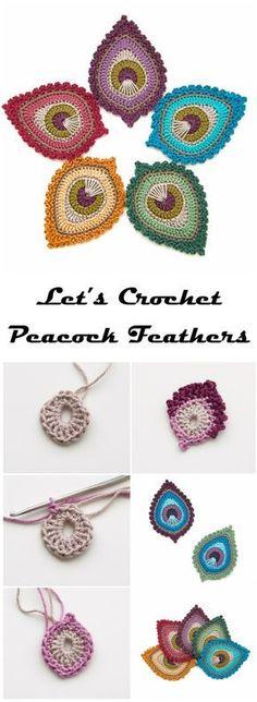 Crochet Motif Learn To Crochet Peacock Feathers - Learn To Crochet Peacock Feather Free Pattern Marque-pages Au Crochet, Bonnet Crochet, Crochet Amigurumi, Freeform Crochet, Crochet Beanie, Crochet Gifts, Learn To Crochet, Irish Crochet, Crochet Stitches