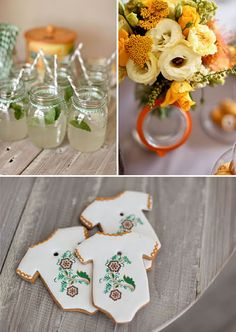 Love the mason jar drinks for my summer baby shower
