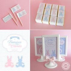 Bandeirinhas palito, mimi-chocolates e marcadores de mesa
