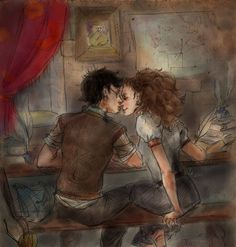 Harry and Hermione taking a time-out while doing homework. Harry never thought that homework may be so fun! ) Quite fast pencil drawing and coloring in photoshop. ---- It's been almost a year since...
