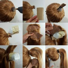 Want to make your ponytail wig more believable with top volume? Ponytail clips are cool but they can be uncomfortable after long hours of wearing. You can make seamless high ponytail with this method for characters like Kasumi.diy fashion ideas that Cosplay Hair, Cosplay Wigs, Cosplay Costumes, Cosplay Armor, Ponytail Wig, Doll Wigs, Doll Hair, Diy Wig, Fimo