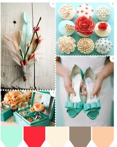 The wedding palette but add goldenrod. Goldenrod, the pink/red, and gray are accents, while mint/blue, ivory, and peach are the main colors! :) love this color combo!