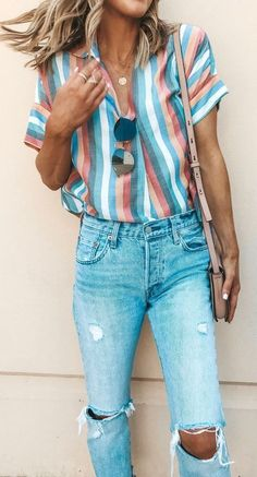 white, pink, and gray striped shirt and distressed denim jeans. white, gray, and red striped cardigan. men's maroon tank top and b. Trendy Summer Outfits, Spring Outfits, Casual Outfits, Jeans Outfits, Ski Outfits, Ladies Outfits, Summer Fashion For Teens, Dinner Outfits, Womens Fashion Casual Summer