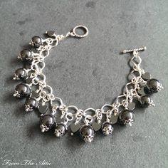 Sleek and elegant black shiny Hematite round beads and hearts charm bracelet #hematite #hearts #fromtheattic #bracelet #charmbracelet #jewellery #jewelry #fashion #accessories #beads #handmade #madeinuk #unique #giftsforher #jewellery #jewelry