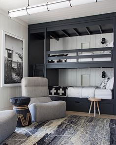 The Mountain Fixer: Kids Bunk Room Update - bunk room design and overall floor plan for mountain house - Bunk Bed Rooms, Bunk Beds Boys, Bunk Beds Built In, Modern Bunk Beds, Boys Bunk Bed Room Ideas, Room Kids, Kids Rooms, Small Rooms, Black Bunk Beds