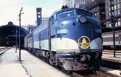 Postcard - B&O Railroad #1456 - EMD E9 - Chicago, IL - 1965