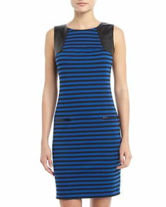 Striped Faux-Leather-Shoulder Dress, Black/Sapphire by Neiman Marcus at Neiman Marcus Last Call.