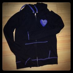 VS black hoodie with purple trim  XS Worn a handful of times. Very minimal fading PINK Victoria's Secret Jackets & Coats