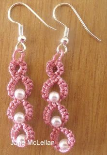 Janemactats: Pattern for Dewdrop Earrings - free pattern by Jane McLellan # tatting earrings Tatting Earrings, Tatting Jewelry, Tatting Lace, Shuttle Tatting Patterns, Needle Tatting Patterns, Crochet Patterns, Crochet Earrings Pattern, Crochet Necklace, Crochet Cord