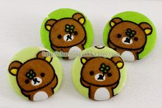 Fabric Covered Buttons (XL) - Rilakkuma On Four Leaves Lucky Clovers Land (4Pcs, 1.25 Inch). $5.00, via Etsy.