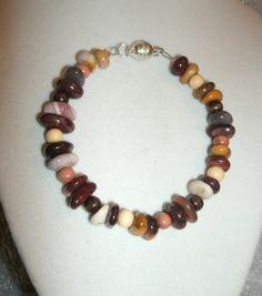 Mookaite Jasper Bracelet - pebble type smooth beads, Australian Mookaite, OOAK, multiple colors, natural colors, gift for her, handmade