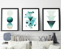 Set of 3 Geometric Print Geometric Poster Scandinavian