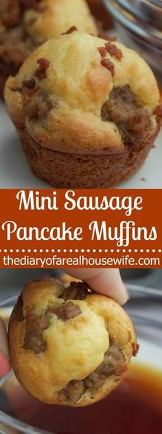 Warm and fluffy, the perfect sweet and savory combination. These Mini Sausage Pancake Muffins make the perfect easy breakfast recipe.