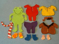 "Domain: Physical and well being ELGs indicator: The young toddler coordinates eye and hand movements"" This puzzle helps children learn where each piece of clothing goes. Flannel Board Stories, Felt Board Stories, Felt Stories, Flannel Boards, Neo Grunge, Soft Grunge, Grunge Style, Froggy Gets Dressed, Felt Board Patterns"