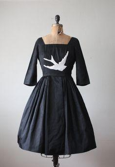 8d80ee3fec94 bird dress - 1950 s black lace bird dress