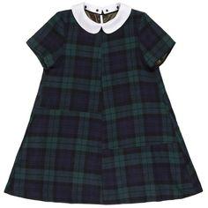 Patch Shift Dress (3.902.170 IDR) ❤ liked on Polyvore featuring dresses, tops, tartan plaid dress, short-sleeve dresses, short sleeve dress, peter pan dress and plaid peter pan collar dress