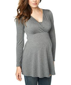 Another great find on #zulily! Charcoal Maternity & Nursing Surplice Tunic by Maternal America #zulilyfinds