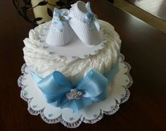 Three Tier Pink and White Diaper Cake with by TheCarriageShoppe