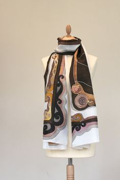 Hand painted luxurious silk scarf  ''Cocoa''  MADE TO by Silkdust