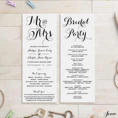 Long Wedding Programs Mr And Mrs Order Of Service Church Byron Edit In Word Or Pages
