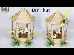How to make popsicle stick bird house ,hut Decorative things made of ice cream stick Popsicle Stick Crafts For Adults, Popsicle Stick Houses, Popsicle Crafts, Craft Stick Crafts, Easy Crafts, Diy And Crafts, Arts And Crafts, Paper Crafts, Craft Ideas