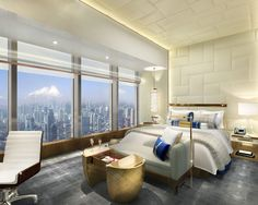 Shangri-La Hotel Jing An rendering of Guest Room A by HBA/Hirsch Bedner Associates. Styled in contemporary elegance, each room will offer an exquisite view of Shanghai.