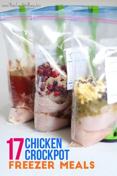 17 Chicken Crockpot Freezer Meals! Grab a free printable that has the recipes and grocery lists!