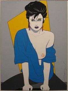 Patrick Nagel Blue Sweater Acrylic on Board 13 x 9.75