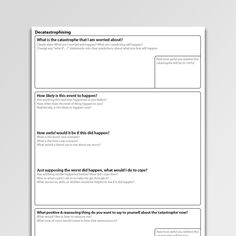 Catastrophic thinking (magnification) is characteristic of many anxiety problems. This CBT worksheet for decatastrophizing is a tool for cognitive restructuring and promotes the elaboration of balanced responses. Cbt Worksheets, Therapy Worksheets, Counseling Worksheets, Counseling Activities, Therapy Activities, Cognitive Behavioral Therapy, Cbt Therapy, Socialism, Psicologia