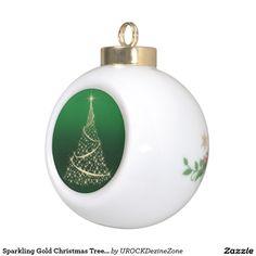 Sparkling Gold #Christmas Tree #Ornament   #zazzle