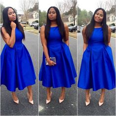 Aso Ebi Style Cocktail Dress African Prom Dresses Party 2019 A-line Vintage Tea-ength Arabian Formal Evening Gowns dresses African Prom Dresses, Latest African Fashion Dresses, African Dress, Blue Dresses, Dress Outfits, Dress Up, Marine Uniform, Frack, Church Outfits