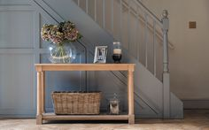 Beautiful handmade kitchens, furniture and accessories for the whole home Oak Bathroom Furniture, Hallway Furniture, Console Table Uk, Hallway Console, Stair Paneling, Panelling, Flur Design, Under Stairs Cupboard, Modern Country Style