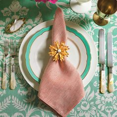 Create vintage napkin rings out of flea market brooches.