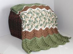 Handmade Ripple Throw Afghan  Green and Brown by SnugableTouches, $75.00