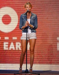 Actress Cameron Diaz speaks onstage during Live Earth New York at Giants Stadium on July 7, 2007 in East Rutherford, New Jersey.