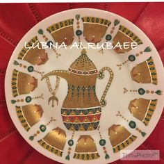 Mirror Painting, Ceramic Painting, Teal Eyes, Painted Plates, Coffee Set, Arabesque, Hobbies And Crafts, Islamic Art, Traditional Art