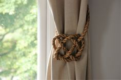 Large Manila Rope Celtic Heart Curtain Tie Backs / Rustic Ties / Rope Hold Backs / Shabby Chic Tie backs/ Window Treatment Curtain Ties by AndreaCookInteriors on Etsy