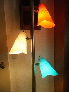 retro tension pole lamp | Vintage 60's Tension Pole Floor 2 Ceiling Lamp w Retro Cone Shades in ...