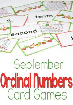 apple theme ordinal number card game