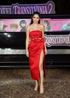 94c718a8116 Selena Gomez is one red hot bombshell at the  Hotel Transylvania Cancun  photocall during Summer of Sony Pictures Entertainment 2015 at The  Ritz-Carlton ...