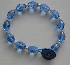 Blue Glass Bead Bracelet Blue Beaded Bracelet Cream Pearls