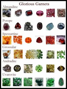 Almandine, pyrope, grossular, andradite, spessartine and uvarovite garnet. my birthstone. Minerals And Gemstones, Crystals Minerals, Rocks And Minerals, Stones And Crystals, Types Of Gemstones, Garnet Jewelry, Gems Jewelry, Jewellery, Garnet Rings