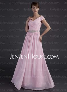 Mother of the Bride Dresses - $138.69 - A-Line/Princess V-neck Floor-Length Chiffon Charmeuse Mother of the Bride Dresses With Ruffle Beading (008015624) http://jenjenhouse.com/A-line-Princess-V-neck-Floor-length-Chiffon-Charmeuse-Mother-Of-The-Bride-Dresses-With-Ruffle-Beading-008015624-g15624