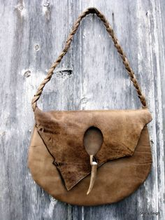 Rustic Lovers Soft Taupe Natural Edge Leather Bag by Stacy Leigh Ready to Ship