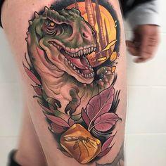 T-Rex by @oash_tattoo at @lacosanostratattoo in Parla Spain. #dinosaur #trex #tyrannosaurusrex #oashtattoo #lacosanostratattoo #parla #spain #tattoo #tattoos #tattoosnob