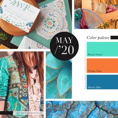 Pantone Colors: Biscay Green, Orange Tiger, Mosaic Blue -- Follow Paper Couture Studio on Instagram and Facebook! @papercouturestudio -- Latest Colour, Couture, Pantone Color, Color Palettes, Color Trends, Mosaic, Boards, Style Inspiration, Facebook