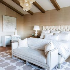 Cream and gold bedroom with nailhead settee bench - transitional - bedroom. Small Room Bedroom, Home Decor Bedroom, Master Bedroom, Bedroom Ideas, Bedroom Curtains, Dream Bedroom, Best Bedroom Colors, Bedroom Color Schemes, Colour Schemes